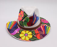 Sombrero : Mexican Hand Painted Birds & Flowers Hat - White