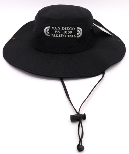 Front view of a Black fisherman hat featuring an embroidered design with verbiage San Diego Est 1850 California in three lines on the center front