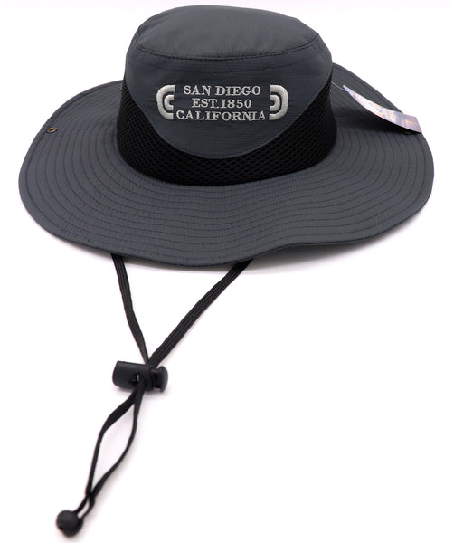 Front view of a Grey fisherman hat featuring an embroidered design with verbiage San Diego Est0 1850 California in three lines on the center front