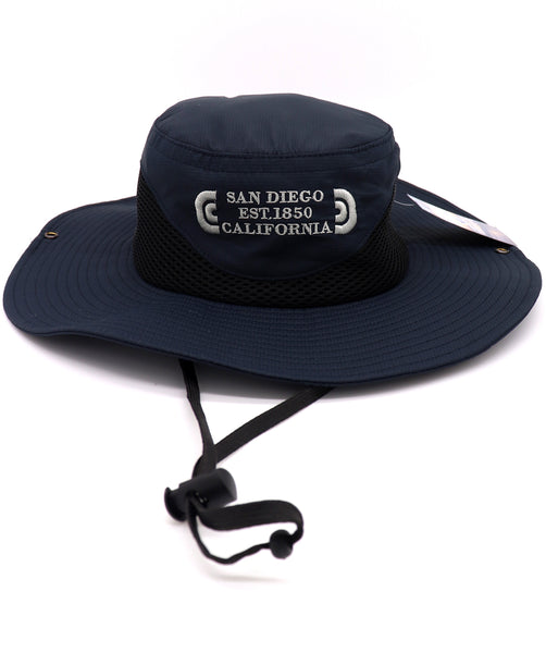 Front view of a Navy fisherman hat featuring an embroidered design with verbiage San Diego Est0 1850 California in three lines on the center front