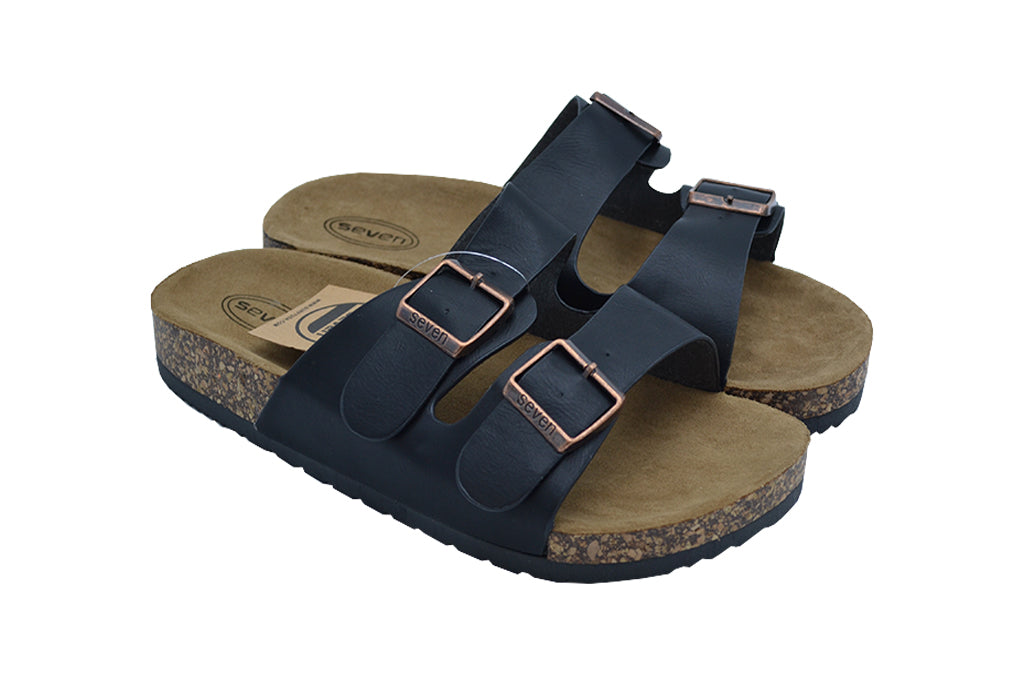 Ladies fashion sandals black color front double strap buckle. Cute, stylish, beautiful and comfy for school, work, home, outdoors, vacation.