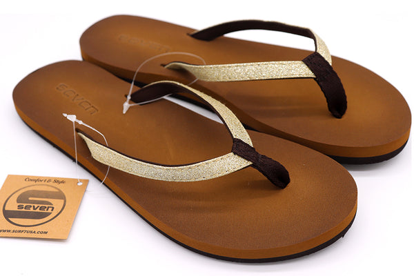 Women's sandals thong slip on with glitter accent strap and brown cushion sole. Shoe sandals for beach, pool, lake, summer and everyday. Shoe size 5, Shoe Size 6, Shoe Size 7, Shoe Size 8, Shoe Size 9, Shoe Size 10 Sold by SDTrading Co.