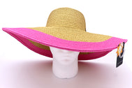 Women's beach hat, floppy hat with large rim with UV protection from sun. Great summer hat, vacation hat, or everyday hat. Ladies, teen or anyone can wear. Beautiful straw color with pink rim. Lucky 7 tag.