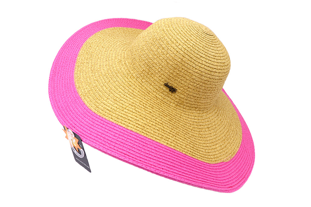 Side of floppy summer hat for women. Natural strawlike color with outer rim in pink. Great summer hat for women. Vacation hat. Beach Hat. Sold by SDTrading Co.