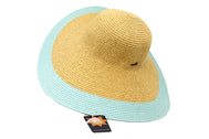 Women's beach hat, floppy hat with large rim with UV protection from sun. Great summer hat, vacation hat, or everyday hat. Ladies, teen or anyone can wear. Beautiful straw color with seafoam outer rim. Lucky 7 tag.