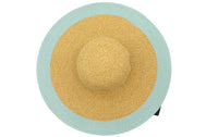 Side view Women's beach hat, floppy hat with large rim with UV protection from sun. Great summer hat, vacation hat, or everyday hat. Ladies, teen or anyone can wear. Beautiful straw color with seafoam outer rim. Lucky 7 tag.