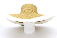 Women's beach hat, floppy hat with large rim with UV protection from sun. Great summer hat, vacation hat, or everyday hat. Ladies, teen or anyone can wear. Beautiful straw color with white outer rim. Lucky 7 tag.