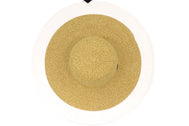 Side View Women's beach hat, floppy hat with large rim with UV protection from sun. Great summer hat, vacation hat, or everyday hat. Ladies, teen or anyone can wear. Beautiful straw color with white outer rim. Lucky 7 tag.