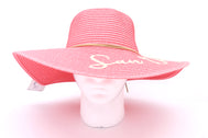 Women's beach hat, floppy hat with large rim that has great protection from sun. Great summer hat, vacation hat, or everyday hat. Beautiful pink color with decorative gold strings all around and elastic band inside to keep hat on. San Diego, Ca. in large gold letters on top of hat.