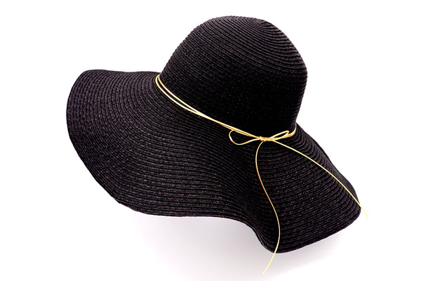Black Women's beach hat with decorative strings, floppy hat with large rim that has great protection from sun. Great summer hat, vacation hat, or everyday hat.