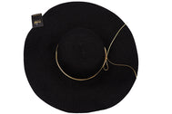 Back of hat Black Women's beach hat with decorative strings, floppy hat with large rim that has great protection from sun. Great summer hat, vacation hat, or everyday hat.