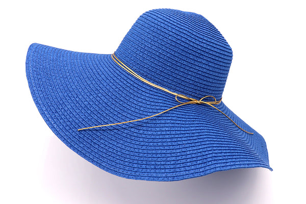 Blue Women's beach hat with decorative strings, floppy hat with large rim that has great protection from sun. Great summer hat, vacation hat, or everyday hat.
