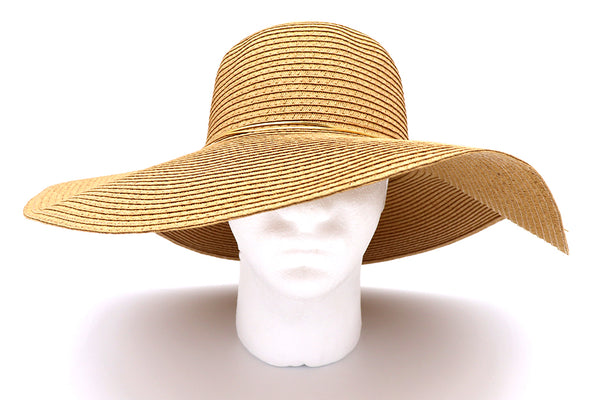 Top view of Solid dark Khaki Women's beach hat with decorative gold strings, floppy hat with large rim that offers great protection from sun. Great summer hat, vacation hat, or everyday hat. Sold by SDTrading Co.