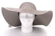 Front view Solid grey Women's beach hat with decorative strings, floppy hat with large rim that has great protection from sun. Great summer hat, vacation hat, or everyday hat.