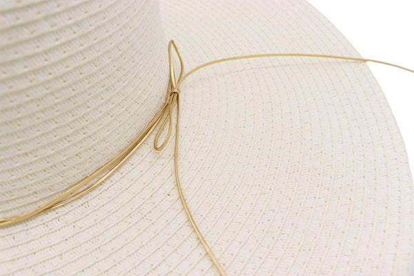 Front view Solid white Women's beach hat with decorative strings, floppy hat with large rim that has great protection from sun. Great summer hat, vacation hat, or everyday hat