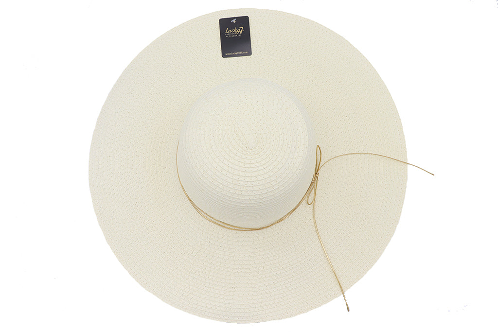 top view Solid white Women's beach hat with decorative strings, floppy hat with large rim that has great protection from sun. Great summer hat, vacation hat, or everyday hat