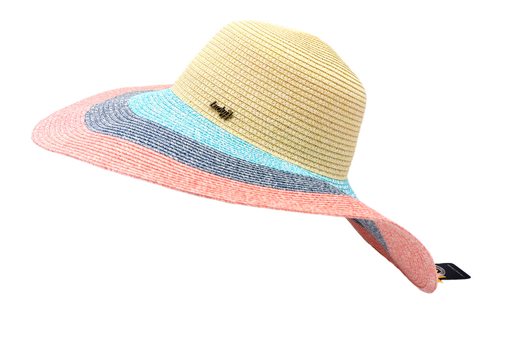Side view Women's beach hat, floppy hat with large rim that has great protection from sun. Great summer hat, vacation hat, or everyday hat. Beautiful multi color khaki top, and rows of turquoise, blue, and pink with an elastic band inside to keep hat on. Sold by SDTrading Co.