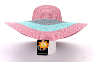 Front view Women's beach hat, floppy hat with large rim that has great protection from sun. Great summer hat, vacation hat, or everyday hat. Beautiful multi color pink, blue, turquoise, and pink with elastic band inside to keep hat on.