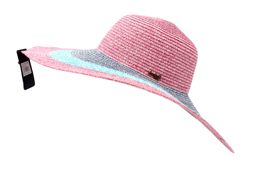 Side view Women's beach hat, floppy hat with large rim that has great protection from sun. Great summer hat, vacation hat, or everyday hat. Beautiful multi color pink, blue, turquoise, and pink with elastic band inside to keep hat on.