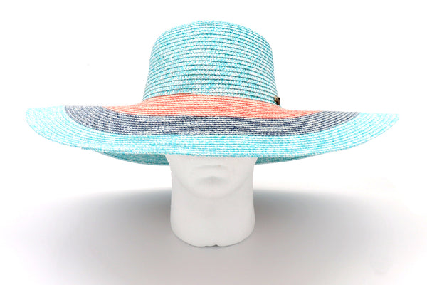 Women's beach hat, floppy hat with large rim that has great protection from sun. Great summer hat, vacation hat, or everyday hat. Beautiful multi color turquoise, pink, blue and turquoise rim with elastic band inside to keep hat on. Vacation hat for women to travel comfortably.
