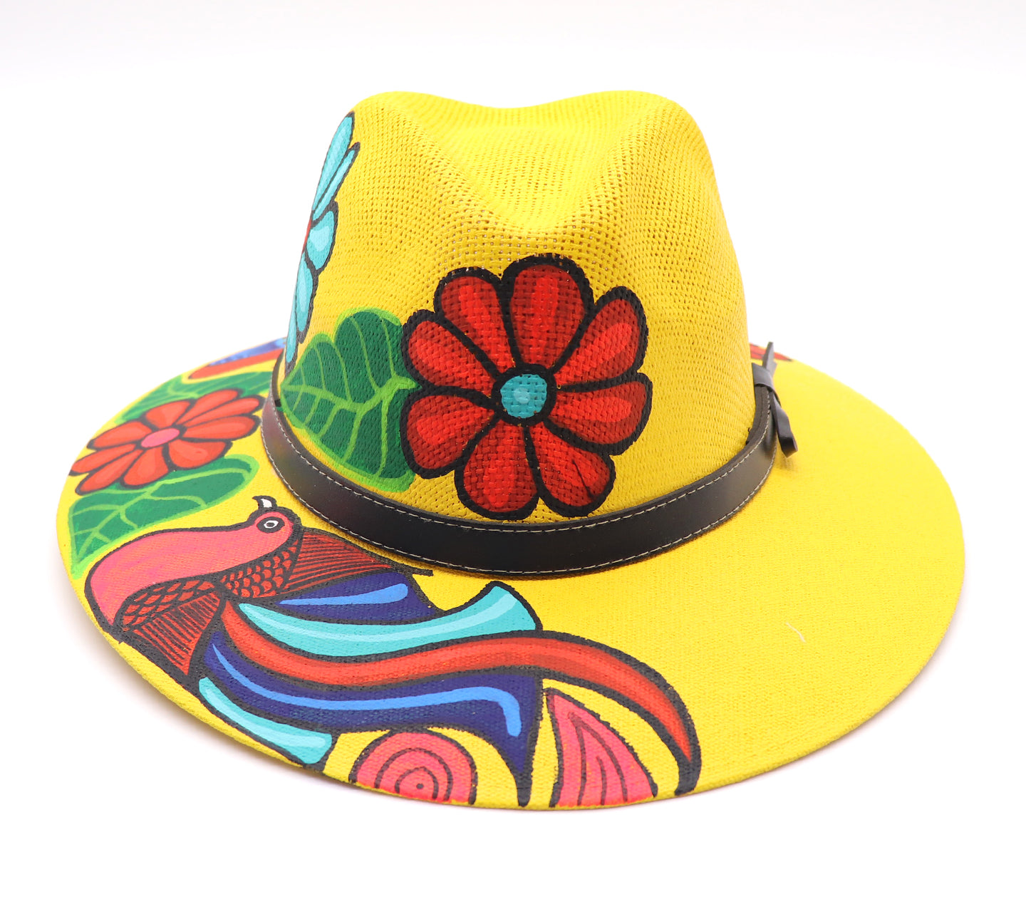 Sombrero : Mexican Hand Painted Birds & Flowers Hat - Yellow