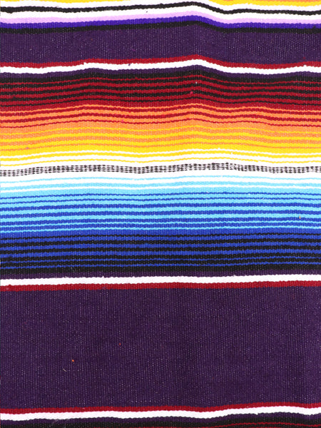 Mexican Zarape Blanket multi color stripes vivid colors purple, blue, yellow, and white with woven tassels. Size 60 inches by 84 inches. Mexican decor, Mexican Party, Mexican theme, Mexican Blanket. Authentic sold by SDTrding Co.