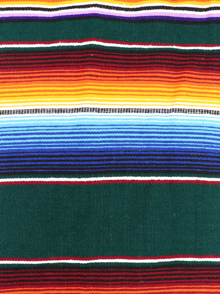 Mexican Zarape Blanket multi color stripes vivid colors green, orange, maroon blue, yellow, and white with woven tassels. Size 60 inches by 84 inches. Mexican decor, Mexican Party, Mexican theme, Mexican Blanket. Authentic sold by SDTrding Co