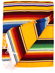 Mexican Zarape Blanket multi color stripes vivid colors yellow, blue, maroon, green, with woven tassels. Size 60 inches by 84 inches. Mexican decor, Mexican Party, Mexican theme, Mexican Blanket. Authentic sold by SDTrding Co.