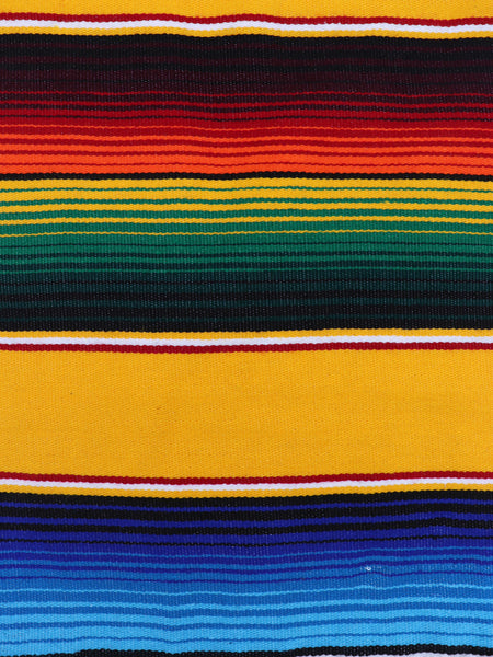 Mexican Zarape Blanket multi color stripes vivid colors yellow, orange, blue, with woven tassels. Size 60 inches by 84 inches. Mexican decor, Mexican Party, Mexican theme, Mexican Blanket. Authentic sold by SDTrding Co.