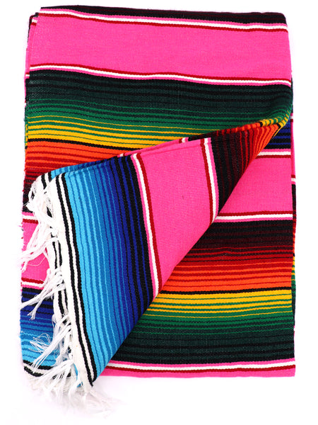 Mexican Zarape Blanket multi color stripes vivid colors pink, green, yellow, orange, blue, with woven tassels. Size 60 inches by 84 inches. Mexican decor, Mexican Party, Mexican theme, Mexican Blanket. Authentic sold by SDTrding Co.