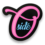 Oceanside sticker with Neon Pink cursive O and side in blue on the inside with middle black ground outline. Oceanside California Sticker Sold by SDTrading Co.
