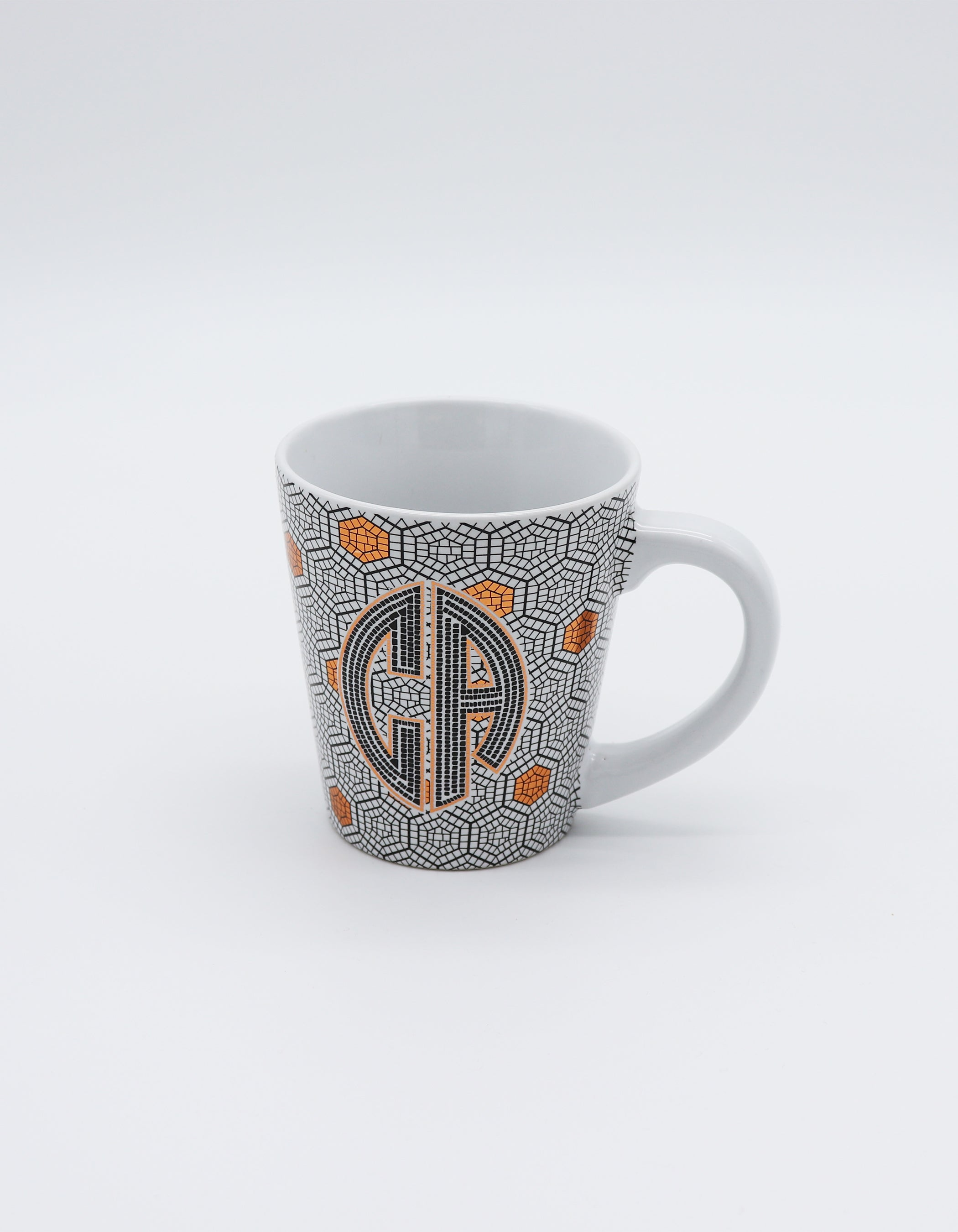 Trumpet mug with Tile-Like Design wrapped around with CA Monogram Logo & Bronze Foil Highlights for coffee or tea. Great gift idea.