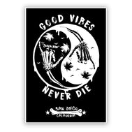 San Diego, California Sticker Ying Yang with shaka skeleton hand wave and palm trees. Wording Good Vibes, Never Die San Diego, California. Sold by SDTrading Co.