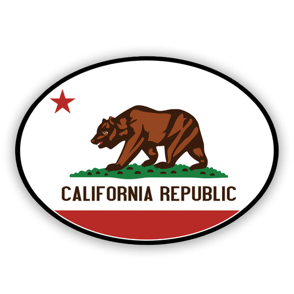 California Republic sticker with Cali brown bear standing on green, with red star on white oval and red bottom. Sold by SDTrading Co.