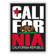 California Republic Sticker with CA Republic brown bear standing on green pasture. Red star, CALIFOR in white letters and NIA in red. California Republic on white on bottom.  sold by San Diego Trading Company