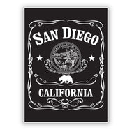 San Diego California Republic Sticker inspired by the whiskey drink. Black and White. Great gift, for sports bottle, laptop or any surface. Sold by SDTrading Co.