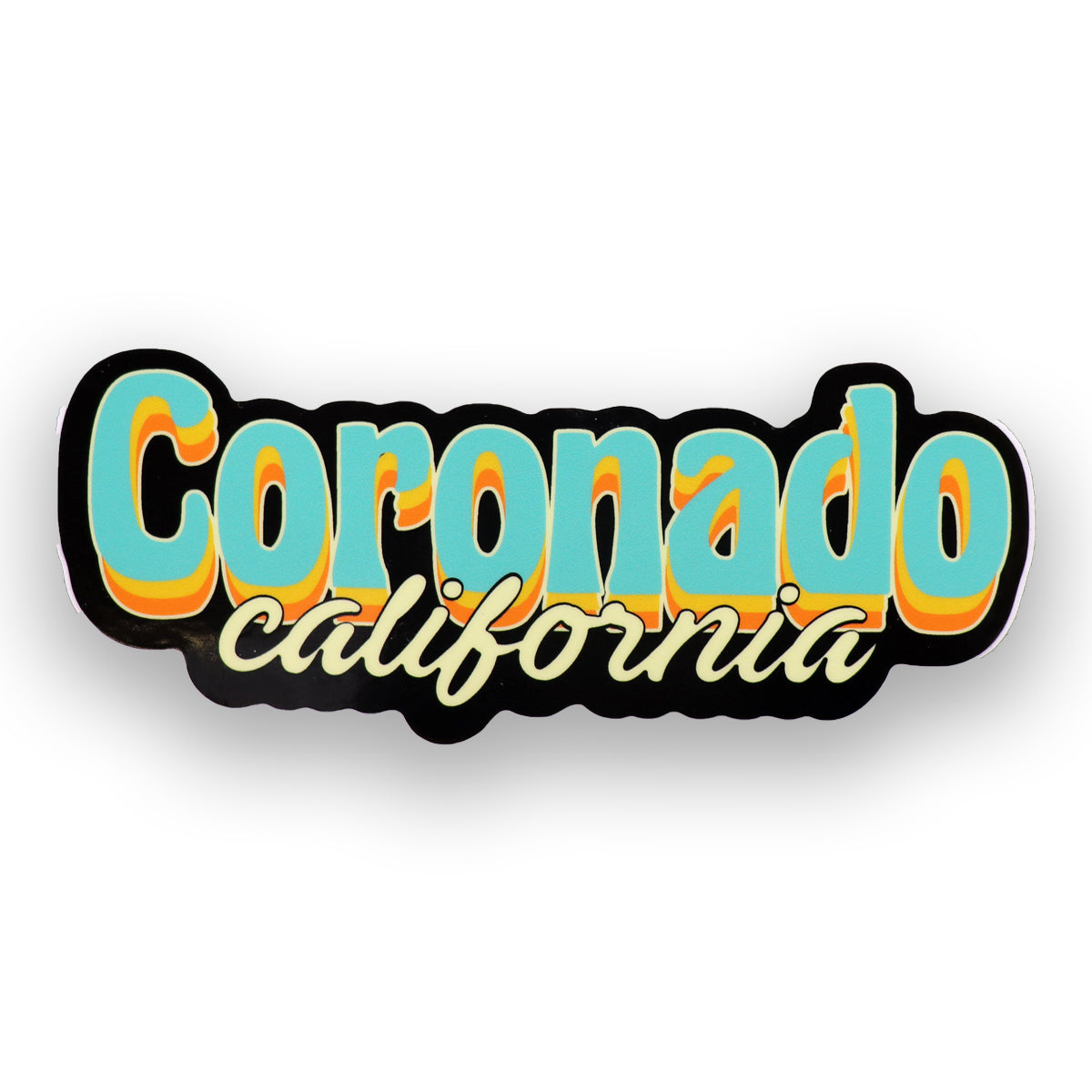 Coronado California sticker with groovy lettering in teal, light yellow, orange and black outline. California in cursive in at the bottom in beige color. Cool California stickers sold by SDTrading Co.