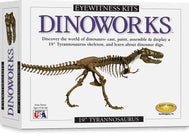 Finished product of Eyewitness Kit showing tyrannosaurus rex mold activity painted figurines with magnetic backing for display
