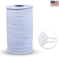 "100 yards roll 1/8"" elastic roll knitted high quality elastic in bulk. Great for sewing DIY projects elastic white."