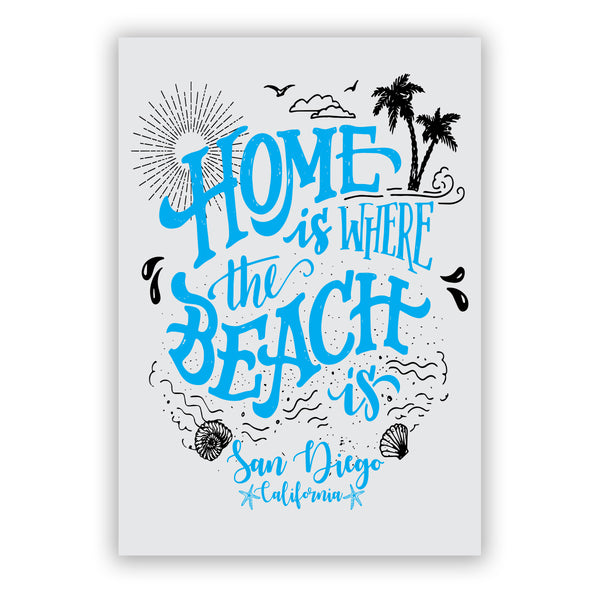 San Diego, California beach sticker. Beautiful beach sticker with blue turquoise wording, Home is where the beach is San Diego, California. With a sun, clouds, birds, palm trees, water drops, seashells and waves. Great for water bottles, laptops, decorating. Gifts. Sold by SDTrading Co.