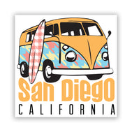 San Diego Kombi Pattern Sticker features a 70s Volkswagen like hippie van with a surfboard leaning on it. Wording San Diego in bubble yellow orange letters and California in black letters. This van will remind you of the endless summer vacation trips. Design and Sold by SDTrading Co.