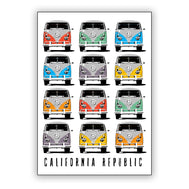 White Rectangle Sticker with California Republic and 12 colorful volkswagen vans with the peace sign on the front. Sold by SDTrading Co.