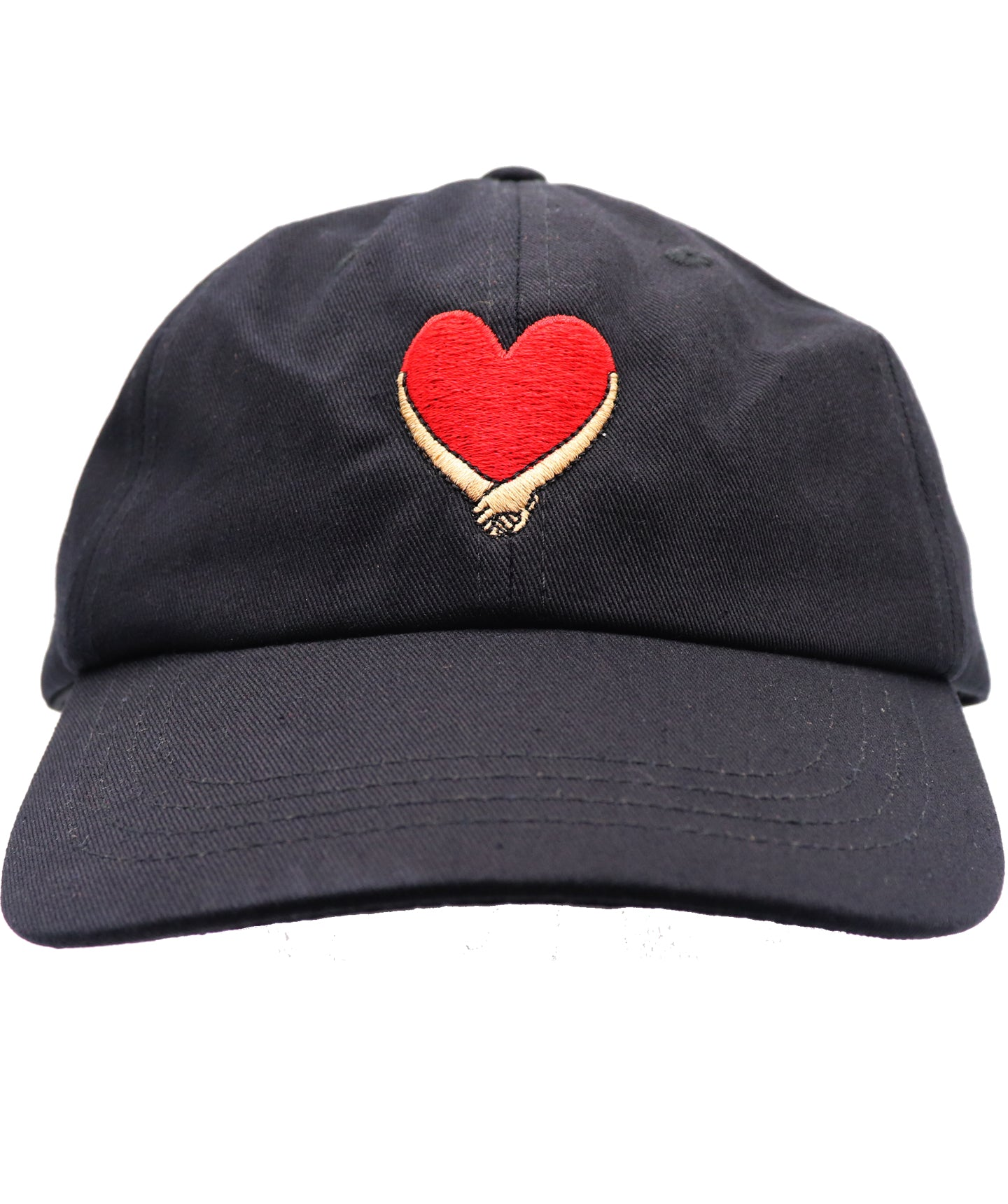 Solid black hat with red heart and tan beige holding hand embroidered baseball dad hat. Embracing hands show love, peace, and solidarity. All lives matter.