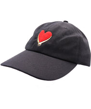 Solid black color red heart and holding hand embroidered baseball dad hat. Embracing hands show love, peace, and solidarity.