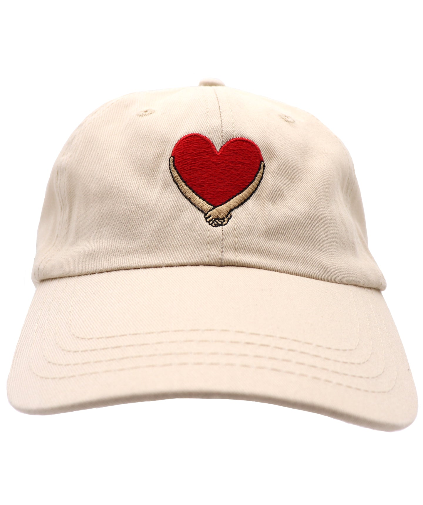 Solid Tan Stone hat with red heart and tan beige hands embracing over the heart, embroidered baseball hat. Embracing hands show love, peace, and solidarity. All lives matter.