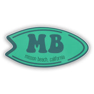 Mission Beach surfboard sticker. Teal surfboard with capital MB letters and mission beach , california text. Cool sticker for surfboarders that ride the west coast ocean. Sold by SDTrading Co.