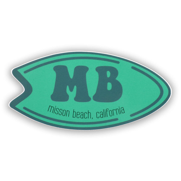 Mission Beach Surfboard Sticker