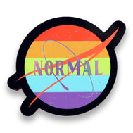 Normal sticker rainbow colors and stars. Design made in California, USA NASA, Pride, LGTBQ lesbian gay transsexual bisexual queer community. Normalize people. Trendy popular fashion and political.