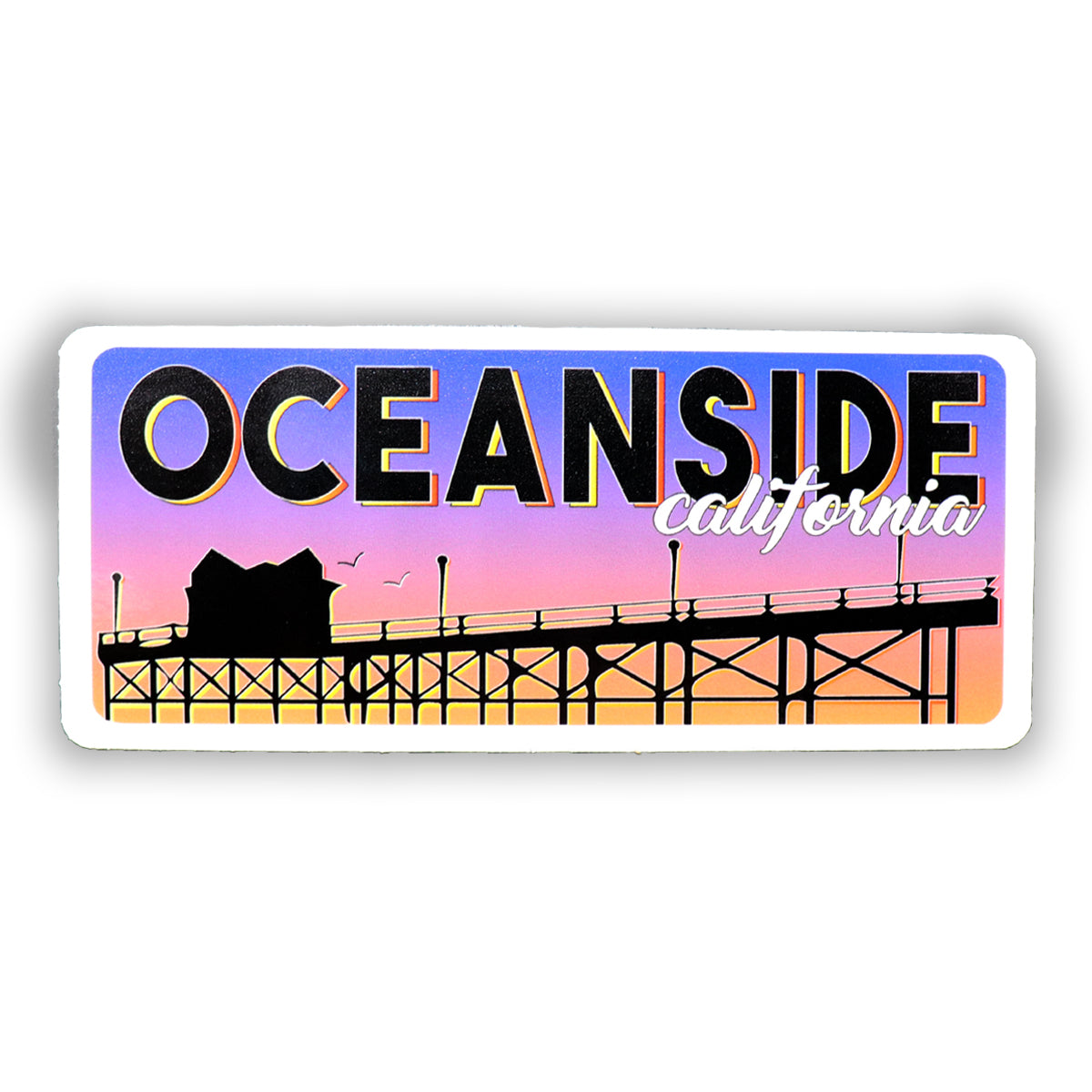 Oceanside sticker of pier with sunset background and Oceanside, California wording. Oceanside is in black capital block letters. California is in cursive in white font. Sold from SDTrading Co.