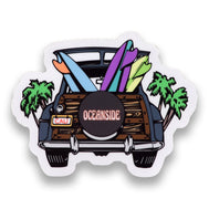Oceanside Surf Woody Sticker